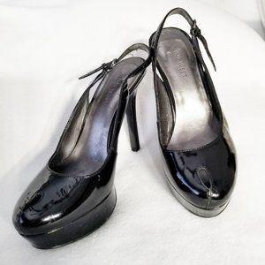 NINE WEST Felma Black Slingback Platform Heels